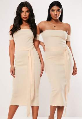 Missguided Plus Size Cream Bandeau Bandage Tie Midaxi Dress