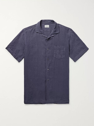 Hartford Camp-Collar Linen Shirt