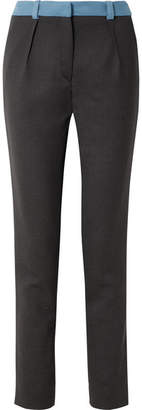 Thierry Mugler Two-tone Wool Slim-leg Pants - Navy