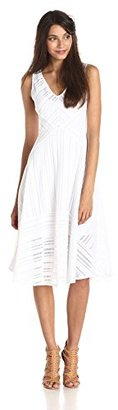 Tracy Reese Women's Striped Fence Lace Fit and Flare Dress $398 thestylecure.com