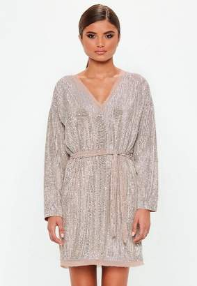 Missguided Nude Embellished Belted Mini Dress