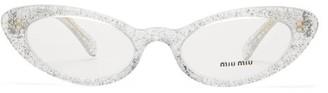 Miu Miu Glitter Cat Eye Acetate Glasses - Womens - Clear