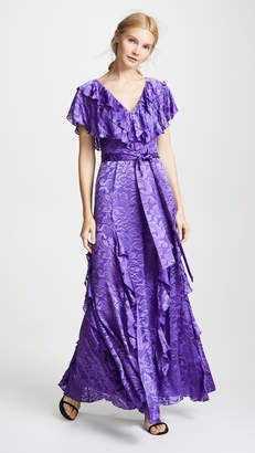 Alice + Olivia Tessa Ruffle Godet Dress