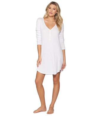 Barefoot Dreams Luxe Ribbed Jersey Henley Nightshirt