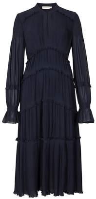 Tory Burch Stella Pleated Chiffon Midi Dress