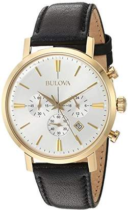 Bulova Men's Quartz Stainless Steel and Leather Dress Watch