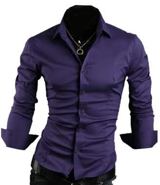 Partiss Mens Pure Color Slim Fit Shirts