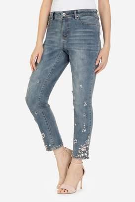 Tribal Rhinestone Flower Jeans