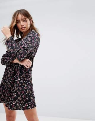 Glamorous Long Sleeve Swing Dress In Grunge Floral