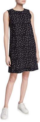 Eileen Fisher Dot Hand-Printed Sleeveless Organic Cotton Shift Dress