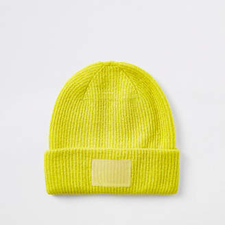 River Island Womens Bright Yellow beanie hat