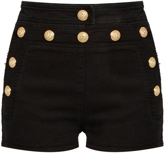 BALMAIN Sailor stretch-denim shorts $679 thestylecure.com