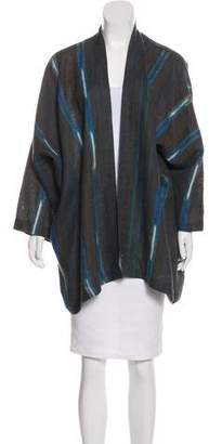 eskandar Striped Long Sleeve Cardigan