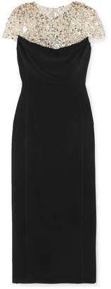Jenny Packham Olivia Embellished Tulle And Cady Midi Dress - Black
