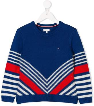Tommy Hilfiger Junior v-striped jumper