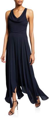 Halston Sleeveless Cowl-Neck Flowy Back-Knot Handkerchief Gown