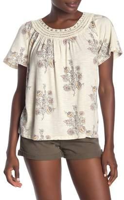Lucky Brand Crochet Short Sleeve T-Shirt