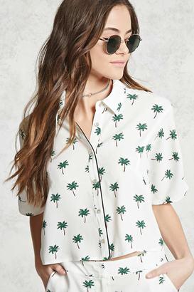 FOREVER 21+ Palm Tree Print Pajama Shirt $19.90 thestylecure.com