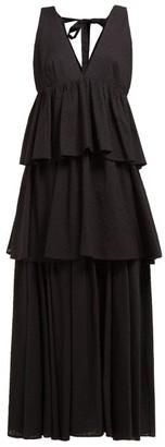 Rhode Resort Leela Tiered Fil Coupe Cotton Maxi Dress - Womens - Black