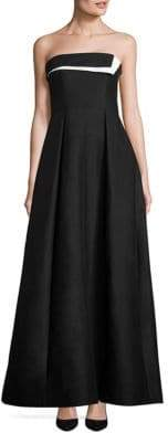 Halston Strapless Colorblock Faille Gown