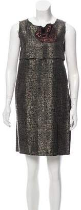 Cotélac Pleated Brocade Dress