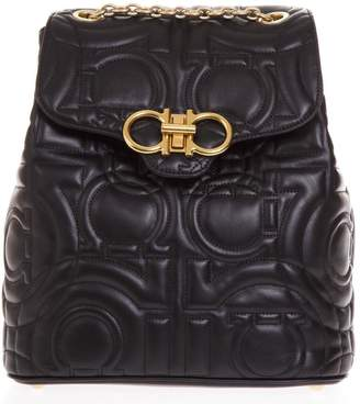 Salvatore Ferragamo Black Leather Backpack With Embossed All Over Print