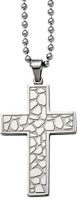 "Forza Stainless Steel Cobblestone Cross Pendantw/ 24"" Chain"