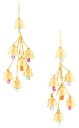 Marie Helene De Taillac 22kt gold cascading flowers earrings