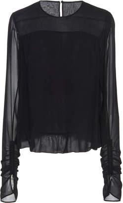 Akris Long Sleeve Silk Georgette Blouse