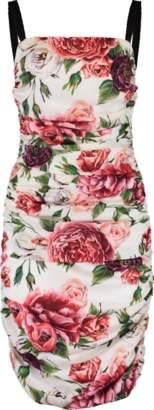 Dolce & Gabbana Rose Print Ruched Dress