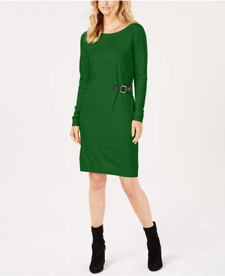Michael Kors Buckle-Trim Sweater Dress, Created for Macy's