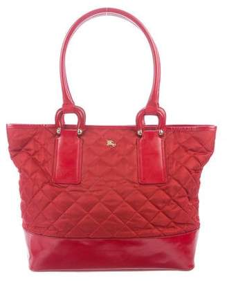 Burberry Quilted Leather-Trimmed Tote