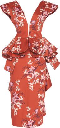 Johanna Ortiz Florearse Ruffled Floral-Print Silk-Satin Midi Dress