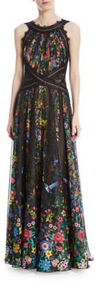 Tadashi Shoji Chiffon Halter Open-Back Floral-Motif Gown