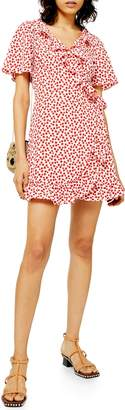 Topshop Floral Print Wrap Minidress