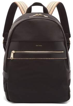 Paul Smith Artist Webbing Leather Trimmed Nylon Backpack - Mens - Black