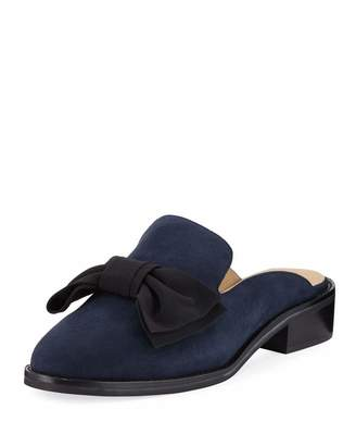 Neiman Marcus Aimy Suede Bow Slide Mule, Blue/Black