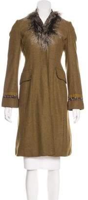 Philosophy di Alberta Ferretti Fur-Trimmed Wool Coat