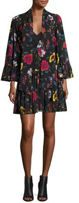 McQ Alexander McQueen Bell-Sleeve Floral Chiffon Mini Dress, Black/Multicolor $575 thestylecure.com