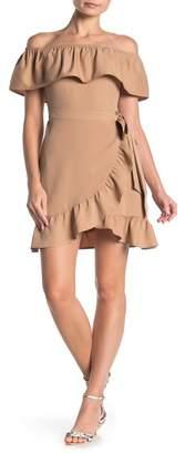 Dee Elly Off-the-Shoulder Ruffle Wrap Mini Dress