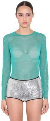 Object De Desir Crystal Embellished Tulle Top