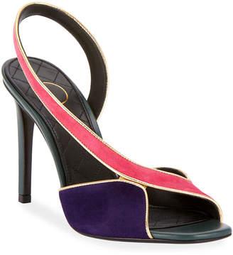 Balmain Macy Two-Tone Slingback Sandals