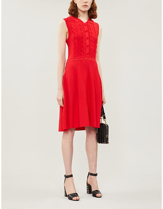 Claudie Pierlot Scalloped-trim sleeveless stretch-knit dress