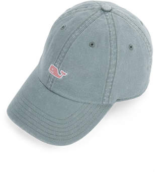 Vineyard Vines Garment Dyed Logo Leather Strap Baseball Hat