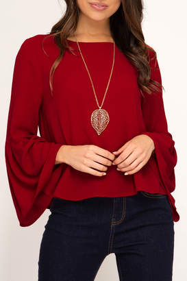 She + Sky Bell Sleeve Classic top