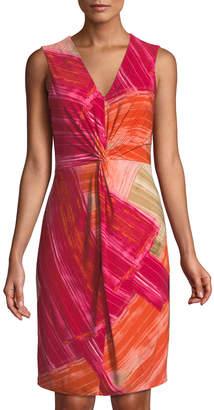 Donna Karan Smeared Paint Sunset Knotted Jersey Dress