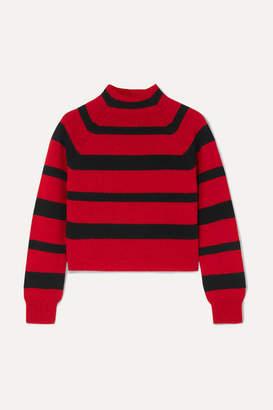 Miu Miu Cropped Striped Cashmere Sweater - Red