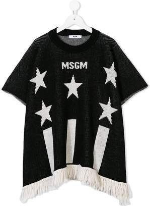 MSGM Kids knitted fringed logo top