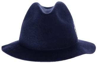 Black Fleur Navy Wool Felt Hat