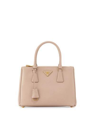Prada Saffiano Lux Small Double-Zip Tote Bag, Blush (Cammeo)
